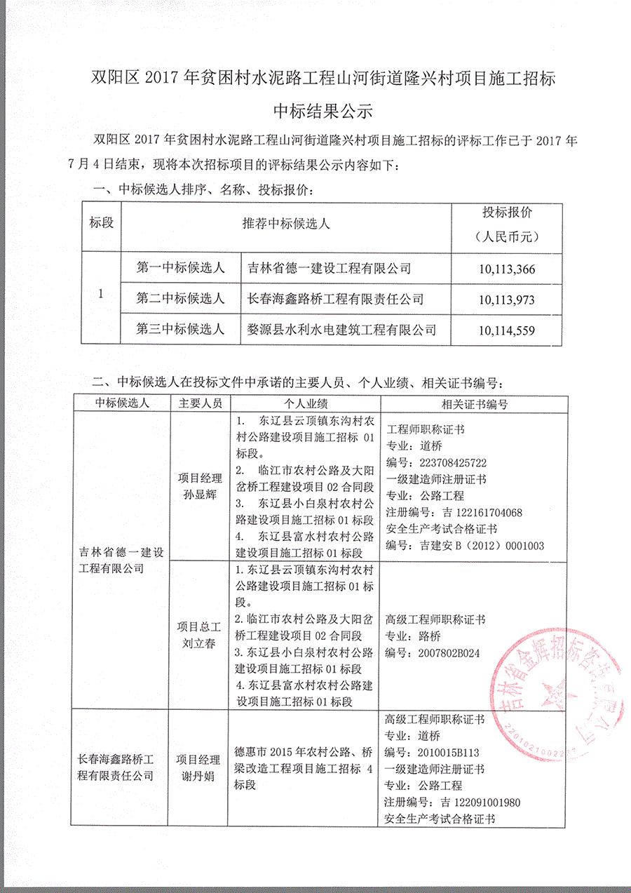 双阳区2017年贫困村水泥路工程山河街道隆兴村项目施工招标中标结果公示扫描件1